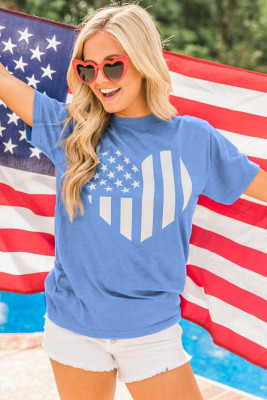 Sky Blue American Flag Heart Print Graphic Tee