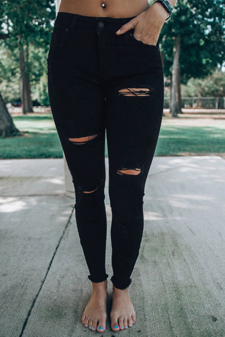 Black Distressed Slits High Waist Jeans