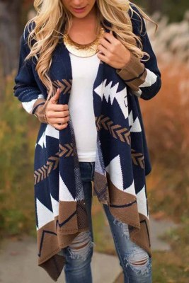 Blue Color-Block Long Sleeve Casual Tribal Cardigan