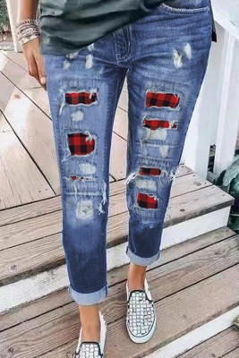 Ripped Plaid Straight Legs Jeans