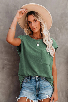 Green Pocketed Tee with Side Slits