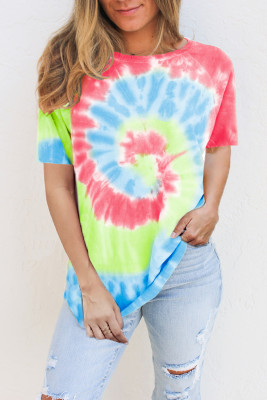 Red Raglan Sleeves Tie Dye Tee