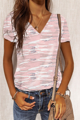 Pink Camouflage Print Short Sleeve Tee