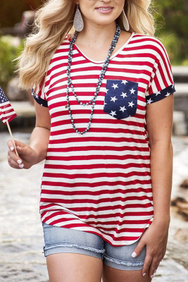 Red American Flag Stars & Stripes Tee