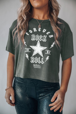 Forever Rock And Roll Graphic Crop Top