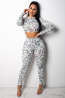 Money Print Long Sleeve Crop Top & Pants Two Piece Set