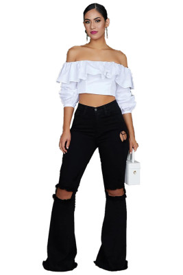 Black Holes Ripped High Waist Bell Bottom Flare Jeans