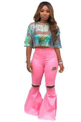 Pink Holes Ripped High Waist Bell Bottom Flare Jeans