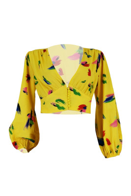 Yellow Tie Dye Print V Neck Long Sleeve Crop Top