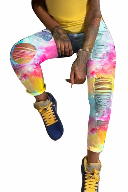 Multicolor High Waist Tie-dye Hollow Out Jeans