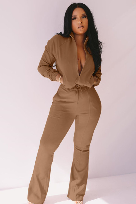 Khaki Zip Stand Collar Solid Jumpsuit