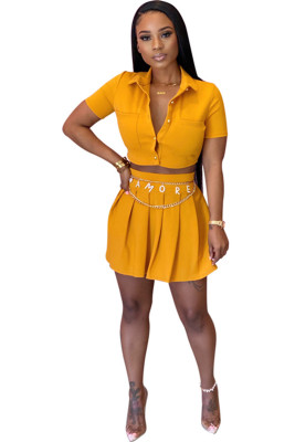 Yellow Short Sleeve Shirt Collar Cropped Top Pleated Skirt Two-piece Set