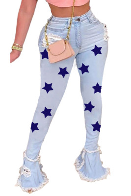 Dark Blue Star Print Color Block Tiered Frayed Edge Flared Jeans