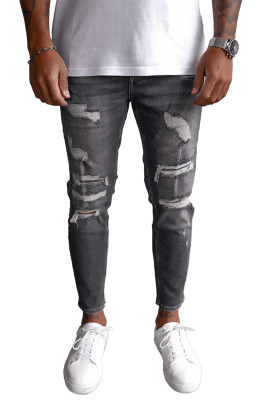 Black Hollow Out Distressed Casual Jeans