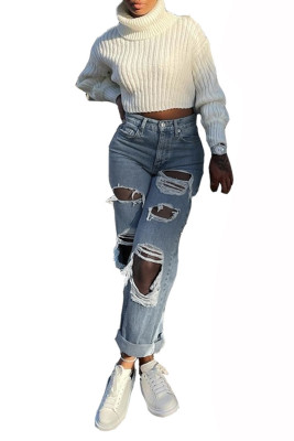 Light Blue Cut-out Wide Leg Fashion Ripped Jeans