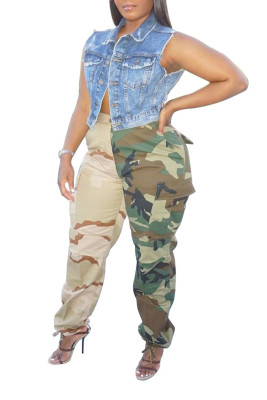 Green Mid Waist Camo Print Straight Casual Pants