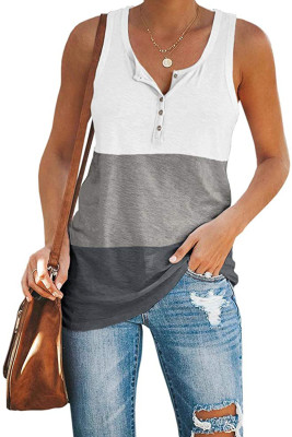 Gray Sleeveless Button Placket Color Block Tank Top