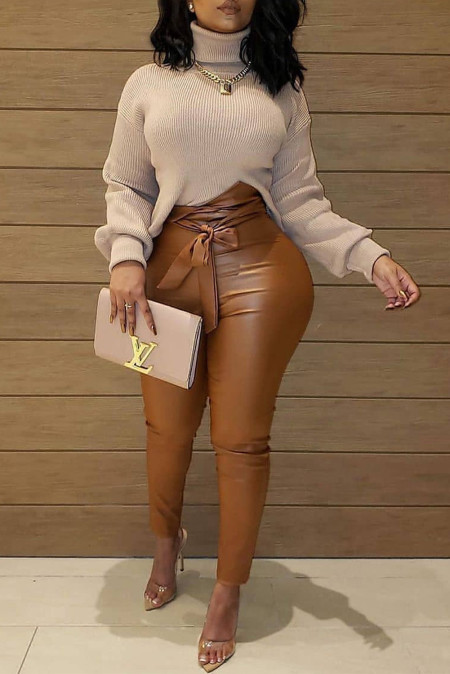 Brown High Waist Faux Leather Tied Knot Solid Color Pants