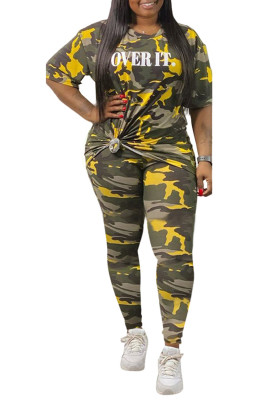 Yellow Crew Neck Camo Print Casual Plus Size Two-piece Pant Set