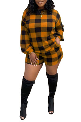 Yellow Crew Neck Long Sleeve Plaid Print Two-piece Short Set
