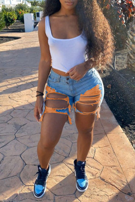 Orange Cut-out Fashion Distressed Denim Shorts