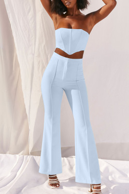 Light Blue Tube Top and Flared Bottom Two-piece Pant Set