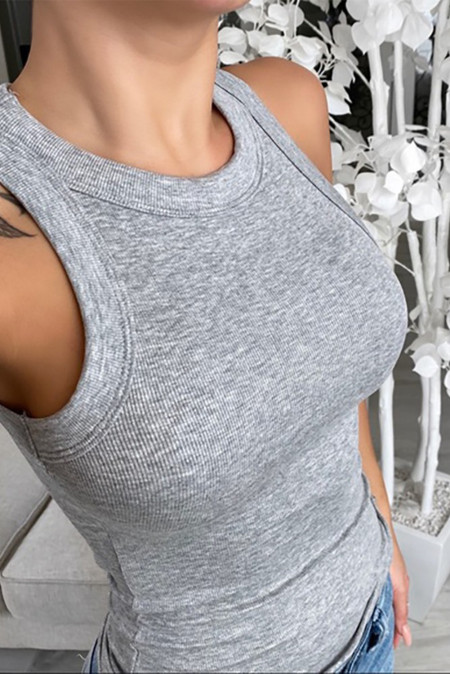 Gray Round Neck Sleeveless Ribbed Solid Color Tank Top