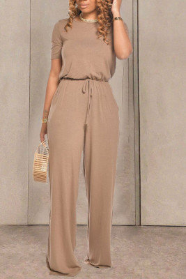 Apricot Round Neck Short Sleeve Wide Leg Jumpsuit
