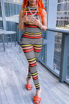 Black Sexy Crew Neck Sleeveless Striped Jumpsuit