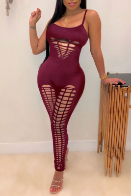 Red Sexy Hole Design Spaghetti Strap Jumpsuit