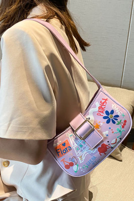 Purple Cute Graffiti Printing Shoulder Bag