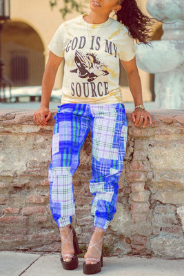 Dark Blue Plaid Printing Color Block Casual Pants