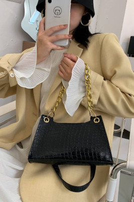 Black Fashion One-shoulder Textured Crossbody Bag
