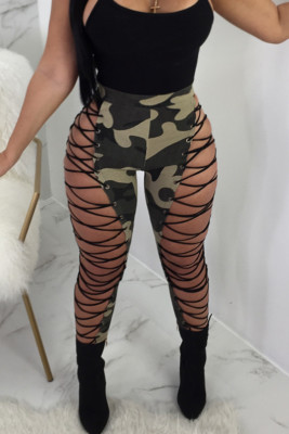 Camo Printing Sexy Criss Cross Eyelet Bodycon Pants
