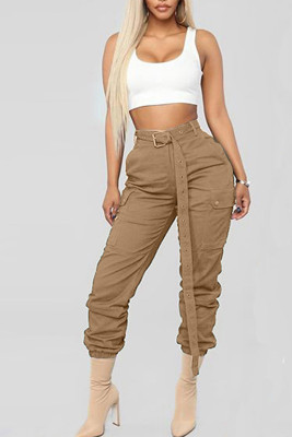 Khaki Fashion Mid Waist Pocketed Pants with Belt