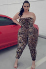 Sexy Leopard Printing Plus Size Tube Jumpsuit