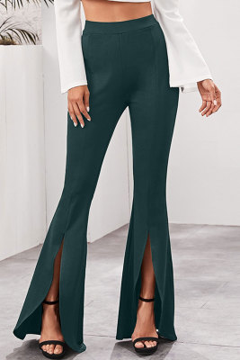 Green Elegant High Waist Split Flared Pants