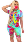 Great-hearted Letter Printing Tie-dyed Two-piece Short Set