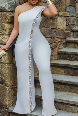 Gray One Shoulder Sequin Wide Legs Jumpsuit