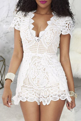 White Plunge Neck Lace Hollow Out Zipper Romper