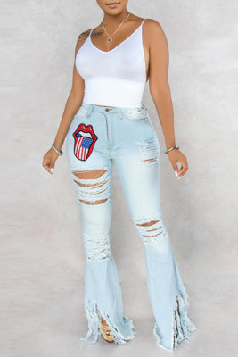 Light Blue Lip Printing Hollow Out Tassel Flared Jeans