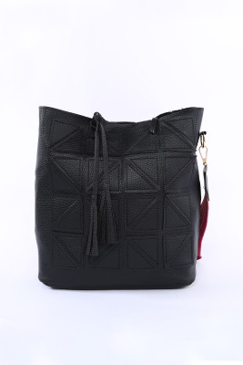 Black Casual Geometric Pattern Handbag