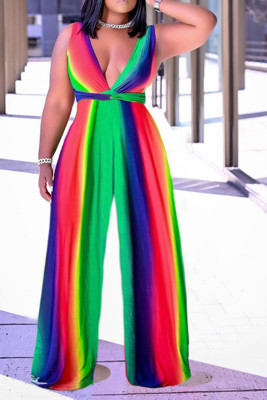 Multicolour Deep V-neck Color Block Wide Leg Jumpsuit