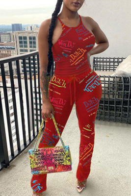 Red Sleeveless Drawstring Letter Printing Two-piece Pant Set