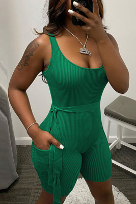 Green Sleeveless Ribbed Knit Romper with Pocket