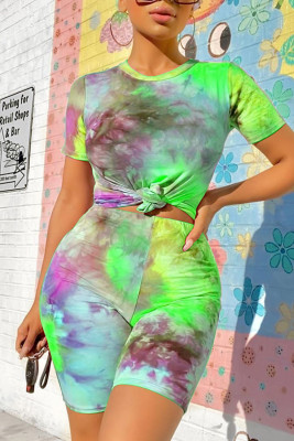 Green Short Sleeve Tie-dyed Two-piece Short Set
