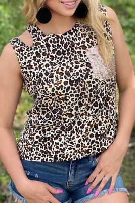 Sequin Pocket Leopard Tank