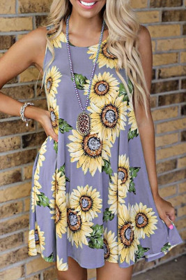 Purple Sunflower Print Tank Dress