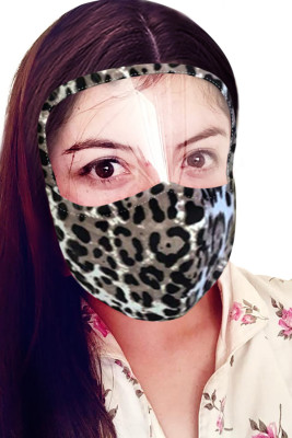 Apricot Leopard Face Mask with Transparent Shield