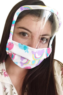 Washable Reusable Multicolor Print All Cover Face Mask with Shield